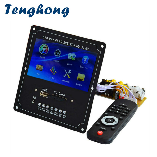 Tenghong 4.3 Inch LCD Audio Video Decoder Board DTS Lossless MP4 MP5 FM USB SD Bluetooth Video Receiver APE WMA Decoding Module