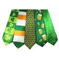 День Св. патрика Галстук Зеленый Трилистник Ирландский Галстук Шеи Галстук Бесплатная Доставка