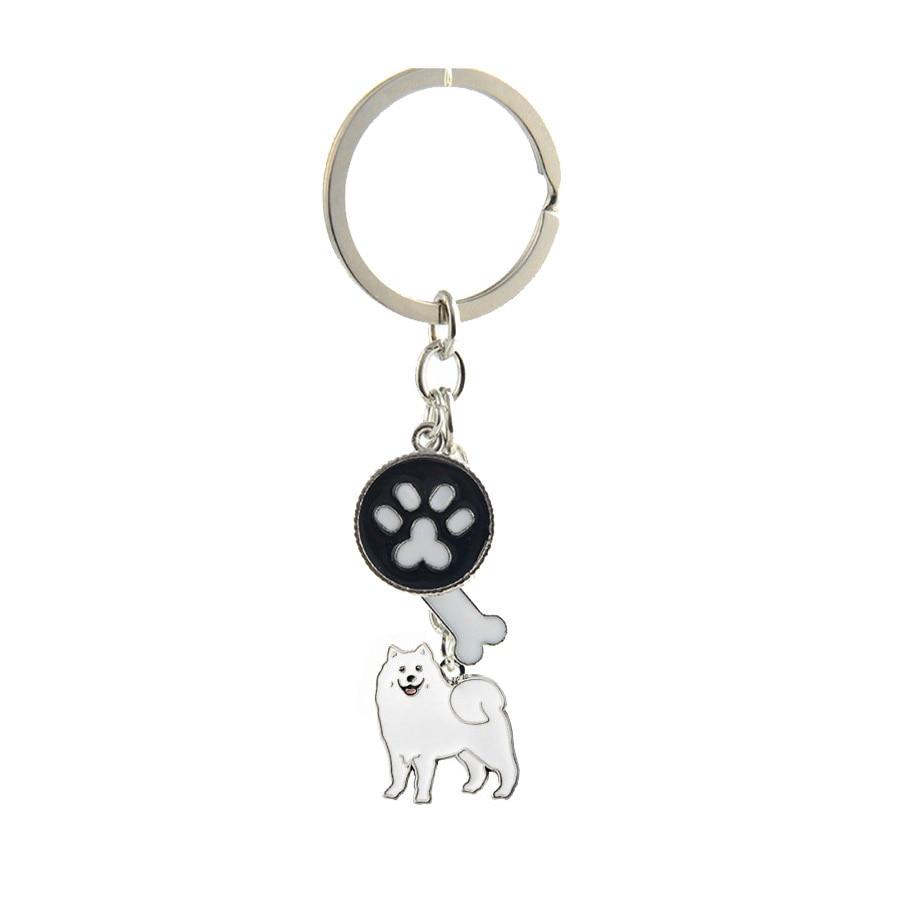Samoyed charms nyckelringar för kvinnor män flickor silver färg legering metall hund hund hängande bil väska nyckelring nyckelring mode smycken