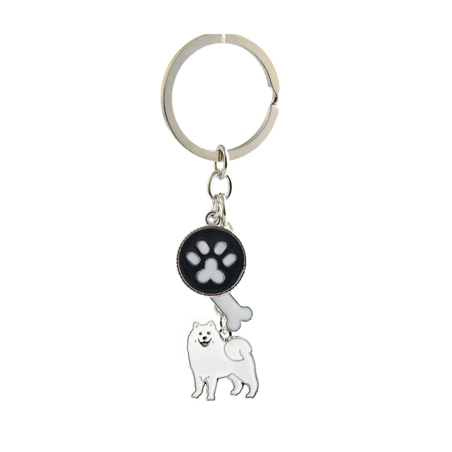 Samoyed γοητεύει μπρελόκ για γυναίκες άνδρες κορίτσια ασημένια κράμα μέταλλο μέταλλο κατοικίδιο ζώο σκυλί κρεμαστό κόσμημα τσάντα αυτοκίνητο μπρελόκ κλειδί δαχτυλίδι