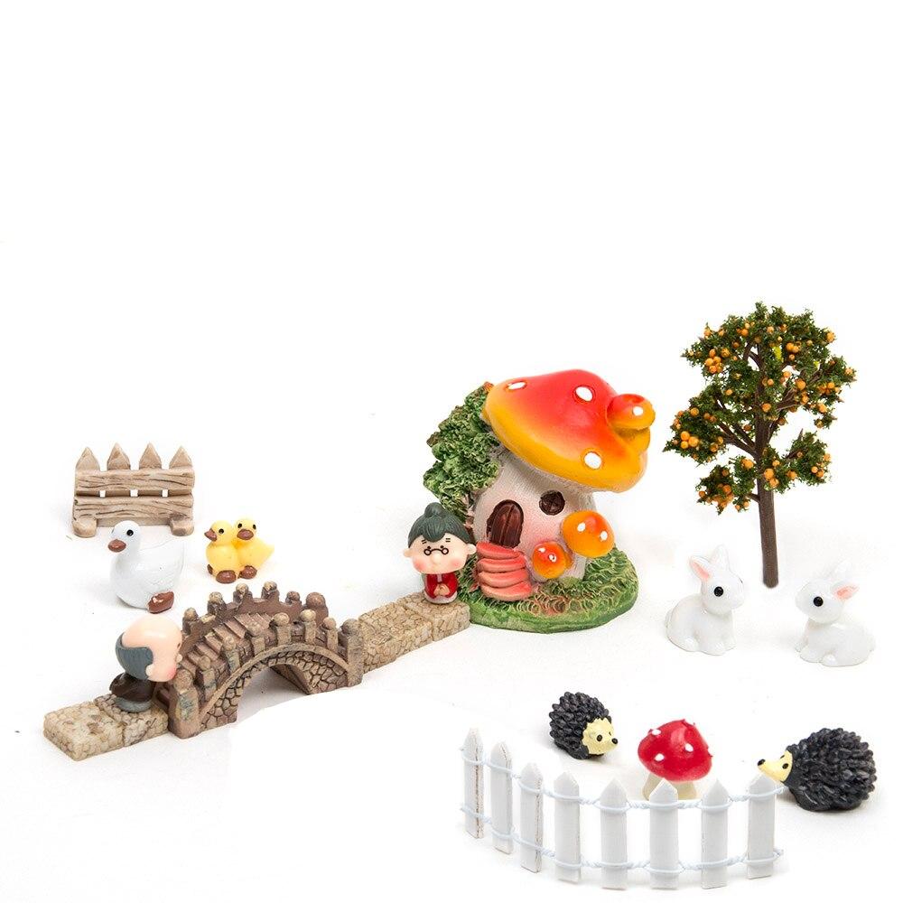 50pcs bricolage maison de poupée Micro paysage maison bonsaï modèle succulentes décoration Terrarium Figurines fée jardin Miniatures