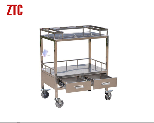 Lab Medical Utility Handcart With Drawers 2 Tier Medication Storage Rolling Trolley Cart On Wheels