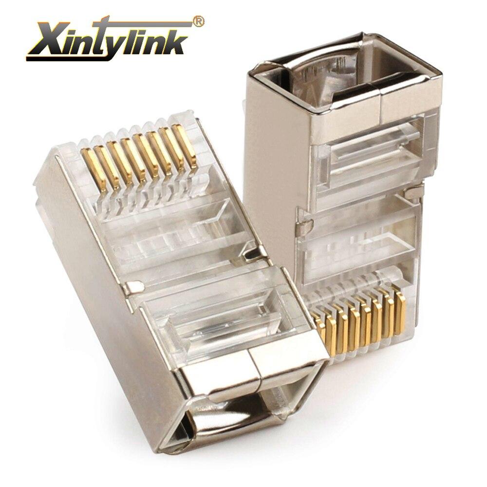 xintylink ethernet cable connector rj45 plug male network cat5e 8p8c 8pin rj 45 stp shielded terminals cat 5 cat5 50pcs 100pcs
