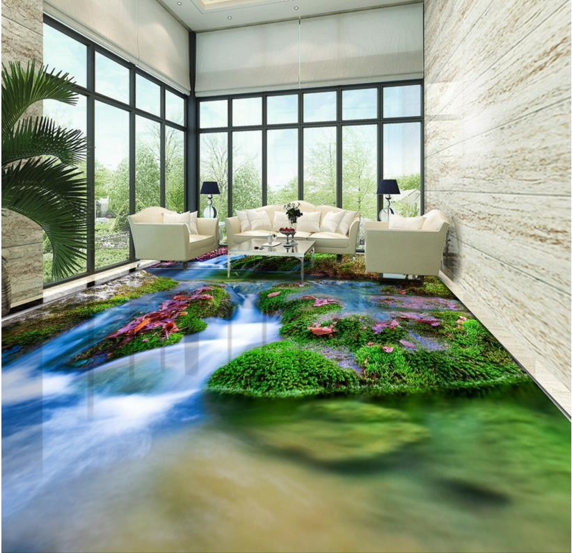 3d Floor Murals Custom Bathroom Wallpaper 3d Floors Plant