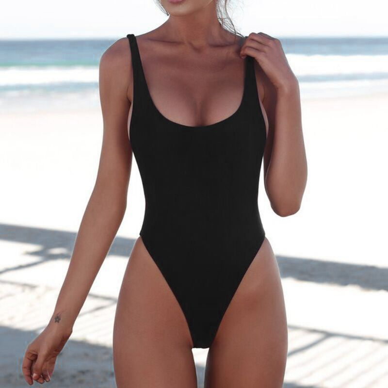 2018 Sexy One Piece Swimsuit Women Swimwear Female Solid Black Thong Backless Monokini Bathing Suit XL2018 Sexy One Piece Swimsuit Women Swimwear Female Solid Black Thong Backless Monokini Bathing Suit XL