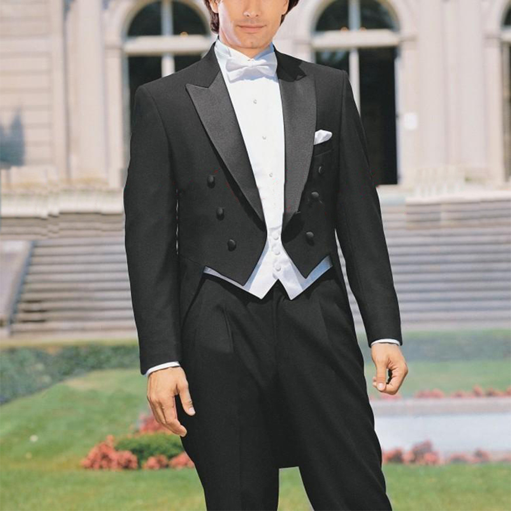 Custom Made To Measure TAILCOAT,BESPOKE BLACK Groom Tuxedos SATIN PEAK Lapel, WHITE VEST, Tailored Men's LONG TAIL TUXEDOS