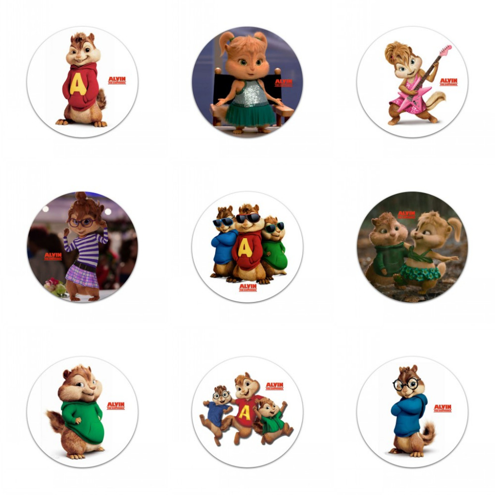 Retail badges 9pcs/lot  Alvin and the Chipmunks Pins Buttons Badges Round Badges fashion Bags accessories Party gift