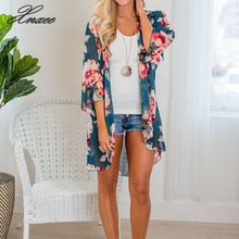 Women Blouses Boho Chiffon Kimono Beach Floral Summer cardigan Sunscreen tops Sexy  Plus Size 2019