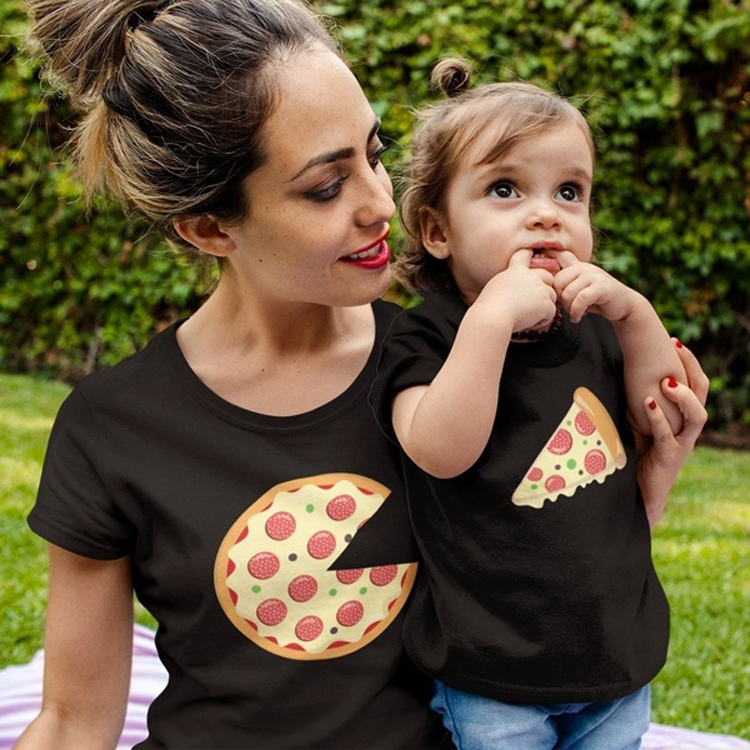Pizza Mother Daughter Tshirts Mommy And Me Clothes Family Look Mom Mum Mama And Baby Girl Tshirt Dresses Family Matching Outfits