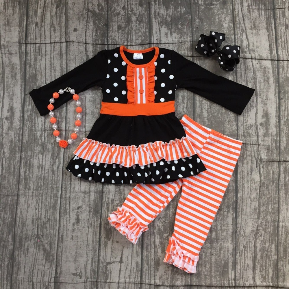 Spezielle angebot baby mädchen herbst/winter kinder kleidung baumwolle orange streifen lange hülse hose outfits boutique mit zubehör