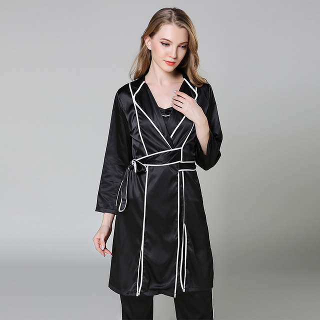 bb9b99f9f0 Sexy Black Ladies Satin Sleepwear Kimono Bathrobe Turn-down Collar Robe  Gown Nightgown Casual Home Wear Nightdress M L XL