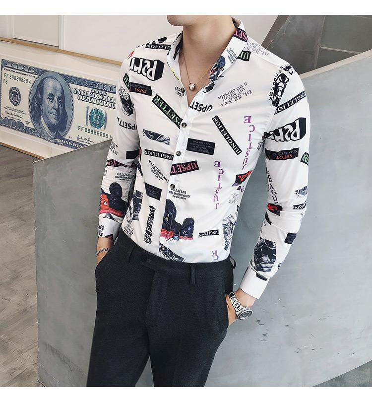 Party Social Shirt Mens clothing Slim fit Long sleeve Blouse Men British style Mens Shirts Fashion Slim Casual in Casual Shirts from Men 39 s Clothing