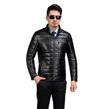 AIBIANOCEL 100% Sheepskin Mens Genuine Leather Down Jackets High Quality Winter Man Leather Down Jackets With White Duck Down