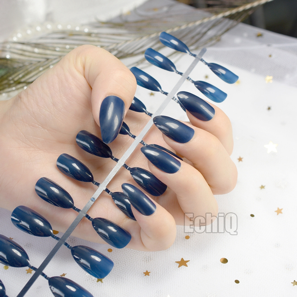 Dark Blue Oval Sharp end Stiletto Nails Tips Full Cover Fake ...