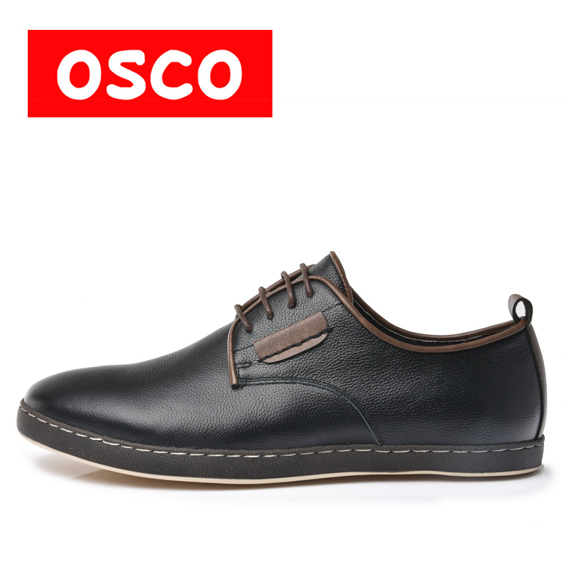 OSCO ALL SEASON New Cow leather Slip on oxfords Men Shoes Fashion Men Casual Color brown men Shoes #RU0008 dxkzmcm new men flats cow genuine leather slip on casual shoes men loafers moccasins sapatos men oxfords