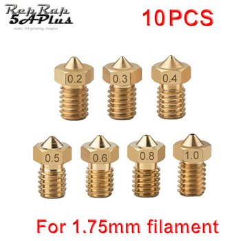 10pcs/lot M6 Threaded Nozzle Full Metal 0.2mm 0.3mm 0.4mm 0.5mm Optional for 1.75mm Filament V5 V6 Hotend Extruder 3D Printer