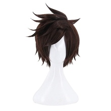 Anilnc Anime Short Dark Brown OW Over Watch Tracer Cosplay Hair Wigs
