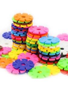 Baby-Game-Toy Blocks Construction-Toys Puzzle Building Snowflake Kindergarten Plastic