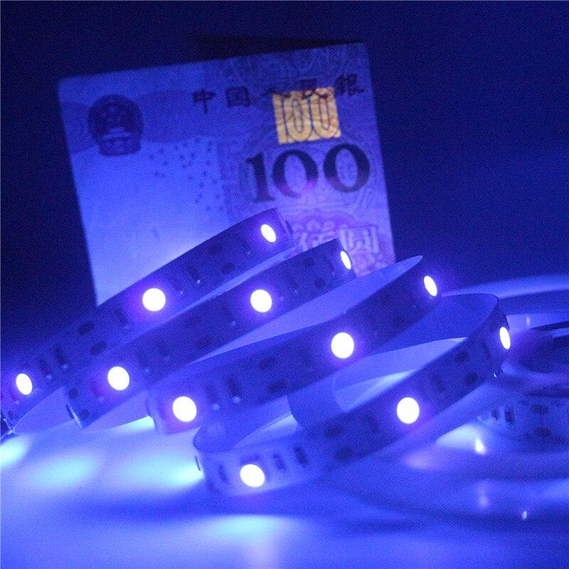 50cm 1m 1.5m 2m USB LED UV Tape Ribbon Lamp 5050 SMD 30leds/m DC 5V USB Ultraviolet Flexible LED Strip Light IP30 Not Waterproof