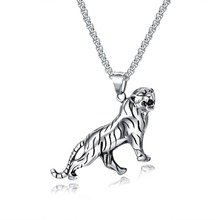 Stainless Steel Tiger Design Mans Pendant Necklace Punk rock Male Jewelry Accessories Cable Chain 2 colors