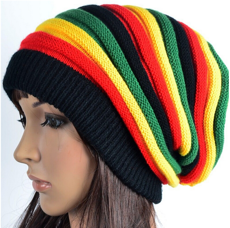 2016 Fashion women hats women and men Jamaican knit Baggy beanie Rasta hat Winter hats caps 2016 men women jamaican rasta hat dreadlocks wig marley caribbean fancy dress prop unisex knitted beanie hat handmade reggae cap