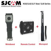SJCAM SJ7 Star SJ6 Accessories Waterproof Handheld Selfie Stick Monopod +Wrist Band Remote Control for M20 SJ6 SJ7 Star Remote update sjcam handheld gimbal sj gimbal 2 3 axis stabilizer bluetooth control for sjcam sj8 series sj7 star sj6 sj8 pro yi 4k cam