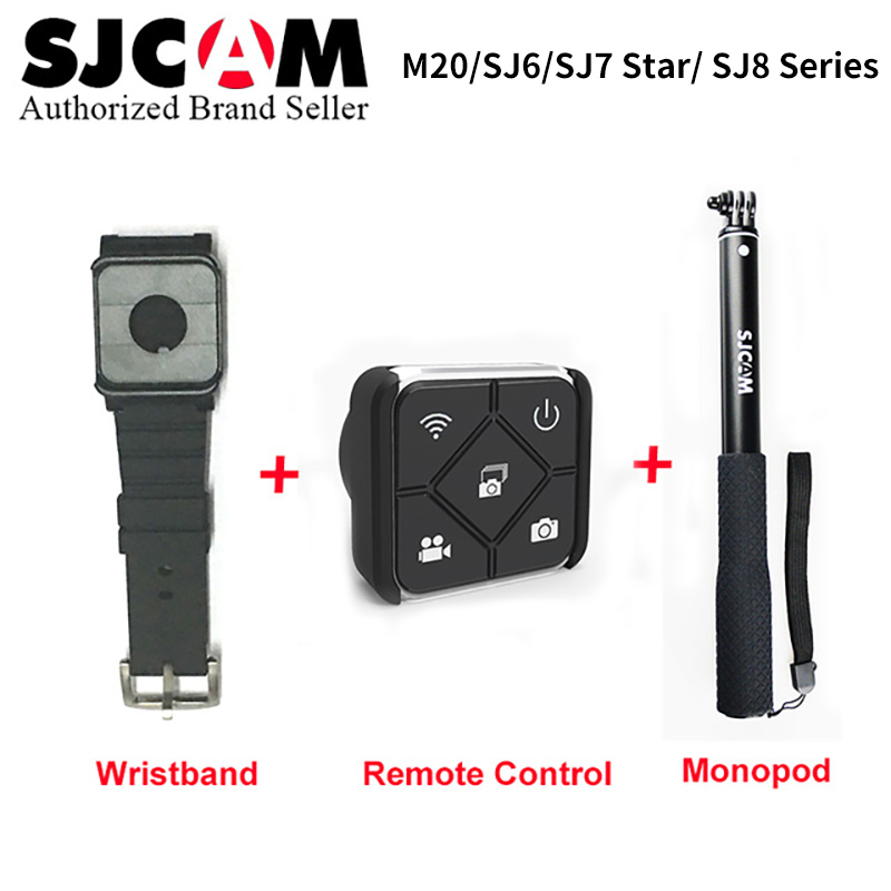 SJCAM accesorios banda de muñeca + Handheld Selfie Stick Monopod remoto para M20 SJ6 SJ7 estrella SJ8 serie acción Cámara