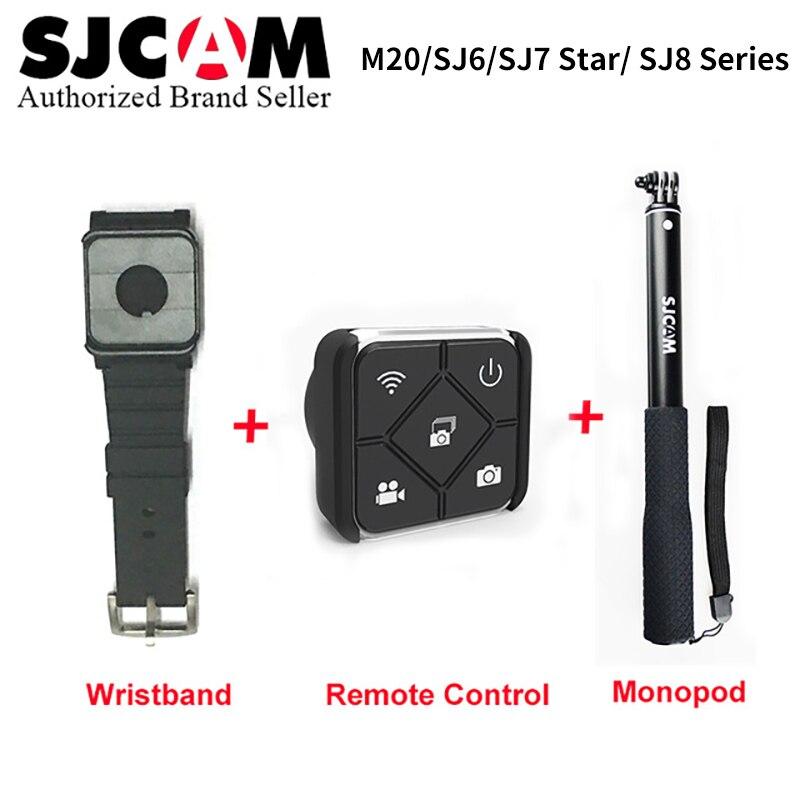 SJCAM accesorios muñeca banda + de mano Selfie palillo remoto Monopod para M20 SJ6 SJ7 estrella SJ8 serie Cámara de Acción
