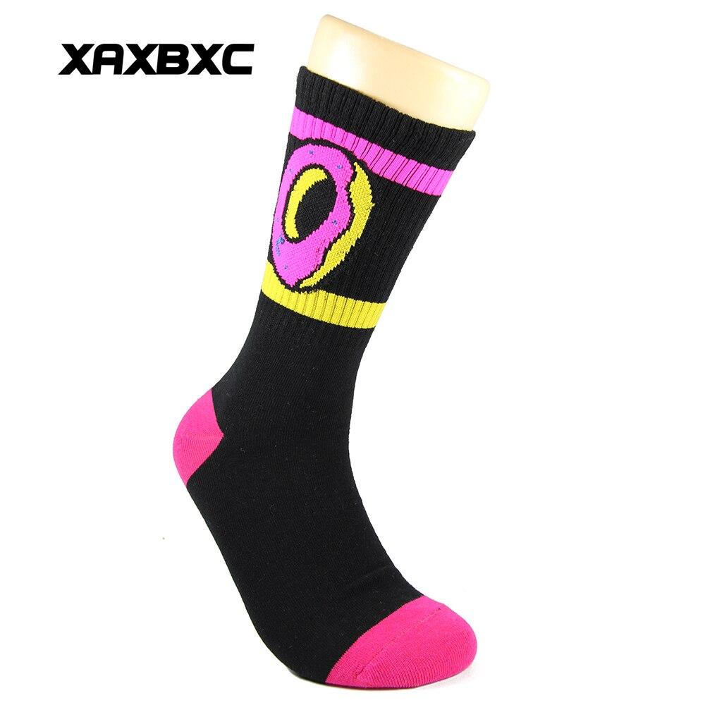 XAXBXC 296LTQ Fashion Harajuku Male Cotton 6 Colors Odd Future Donut Stripes Knitted Casual Business Unisex Men Socks 12 Pairs