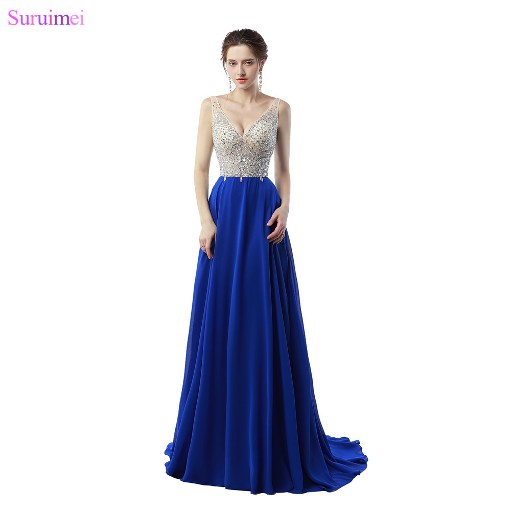 Beaded Evening Dresses with Spaghetti Straps Chiffon Evening Gown Backless Nude See Through Formal Royal Blue Women Dresses