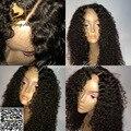 Virginal brasileño rizado rizado superior de seda pelucas llenas del cordón con el bebé glueless pelo del frente del cordón pelucas rizadas del pelo humano para las mujeres negras