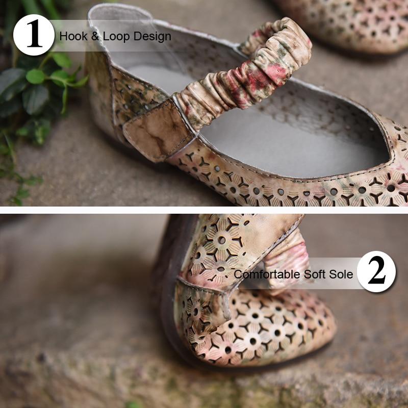 Chaussures Nouveau 7 Peu Doux Bout Fond Peau Creux Carré Femmes Vache Plat À Tea De 368 Profonde Été Bouche La D'origine Artmu Main Rétro 5q3A4RcjL