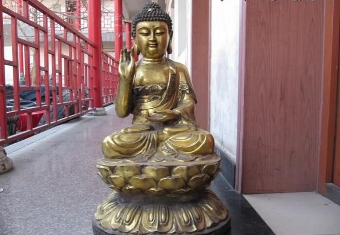 150624 S1859 Tibet Folk temple Bronze Gild lotus Tathagata Sakyamuni Amitabha Buddha Statue150624 S1859 Tibet Folk temple Bronze Gild lotus Tathagata Sakyamuni Amitabha Buddha Statue