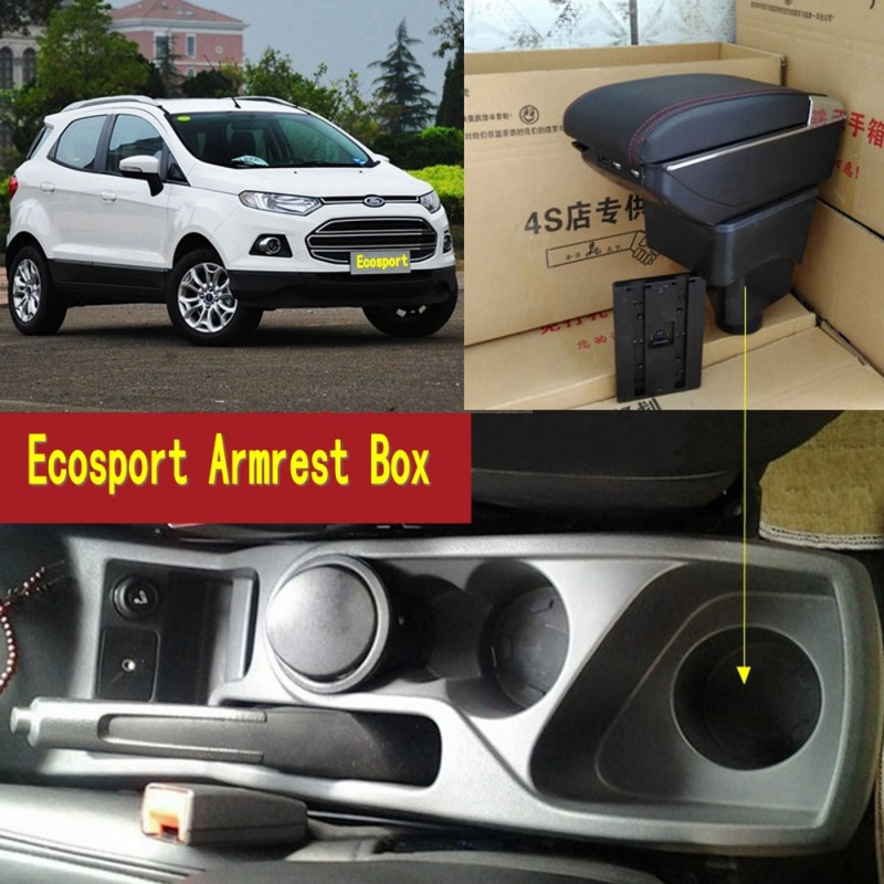 For Ford Ecosport armrest box central Store content Storage box ford armrest box with cup holder ashtray USB interface 2002-2016 for chery tiggo 2 3x 2016 2017 2018 armrest box central store content box with cup holder ashtray decoration with usb interface
