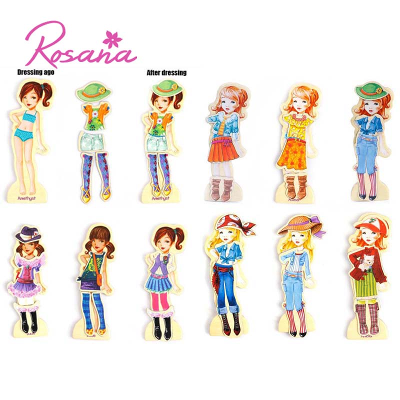 Rosana Puzzle Wooden Magnetic Fashion Play Dress Up Toy Clothes Cute Boy Girl Games Toys Fun Early Education 63PCS Gift Set rosana cordoba