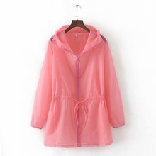 цена на Summer Women Cardigan Solid Women Sunproof Jacket Transparent Bomber Jacket