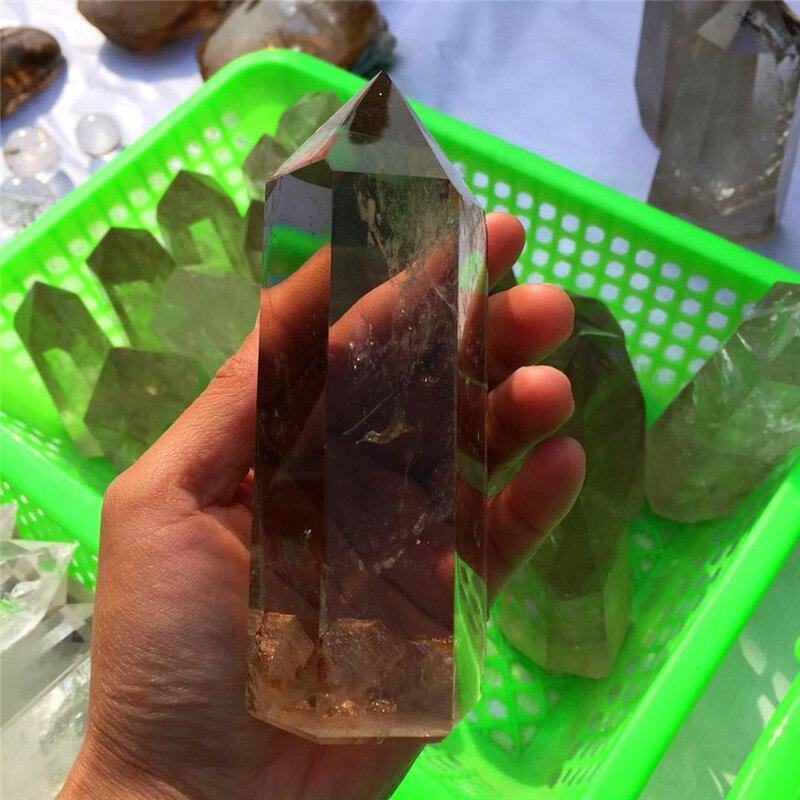 Trasporto di goccia Natural smoky quartz Crystal pietra preziosa bacchetta guarigione reiki chakra lucido cristallo gemma point torre regalo