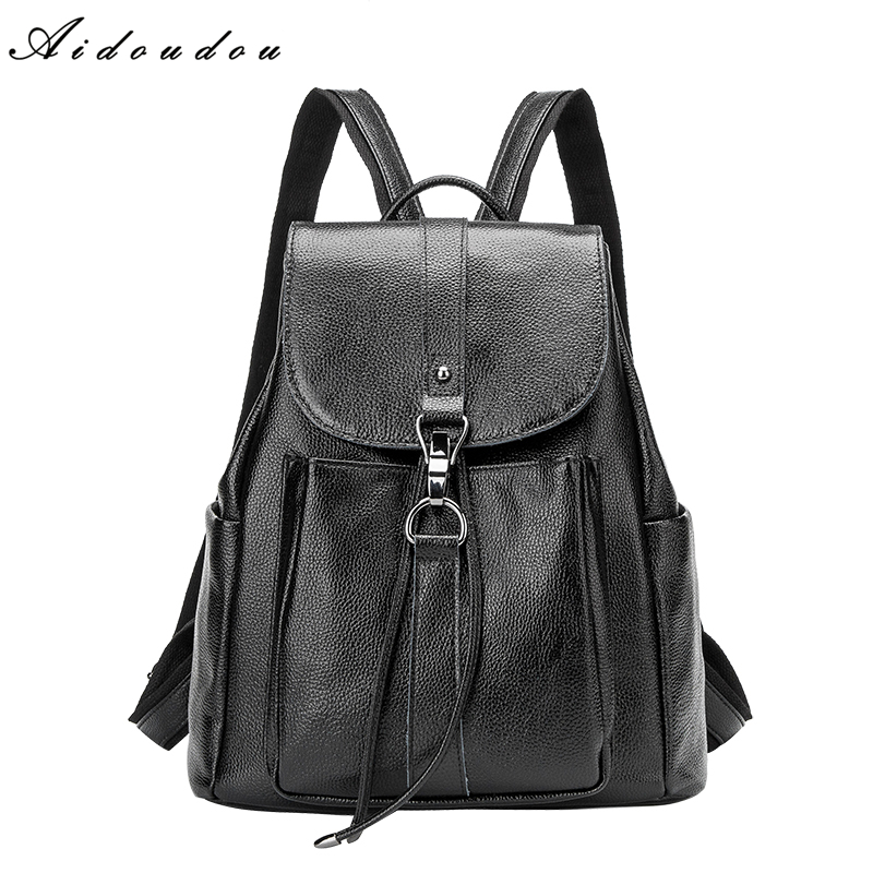 AIDOUDOU Brand Backpacks Soft Split Leather Women Bags Famous Preppy Style Leather School Backpack Bag For