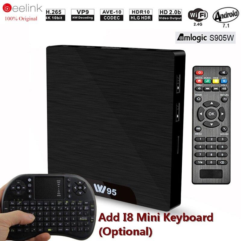 Beelink W95 TV Box 4K 30fps Amlogic S905W Android 7.1 TV Box Quad Core 2.4G WiFi Remote H.265 DDR3 2GB...