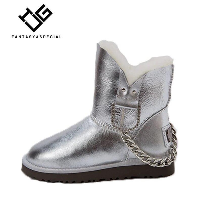 Zapatos La Nieve Piel Del Tobillo Alta Plata Calidad Para Mujeres 2018 Invierno Botas Mujer Igu Punta Cremallera Las De Redonda qwCZ8UxE