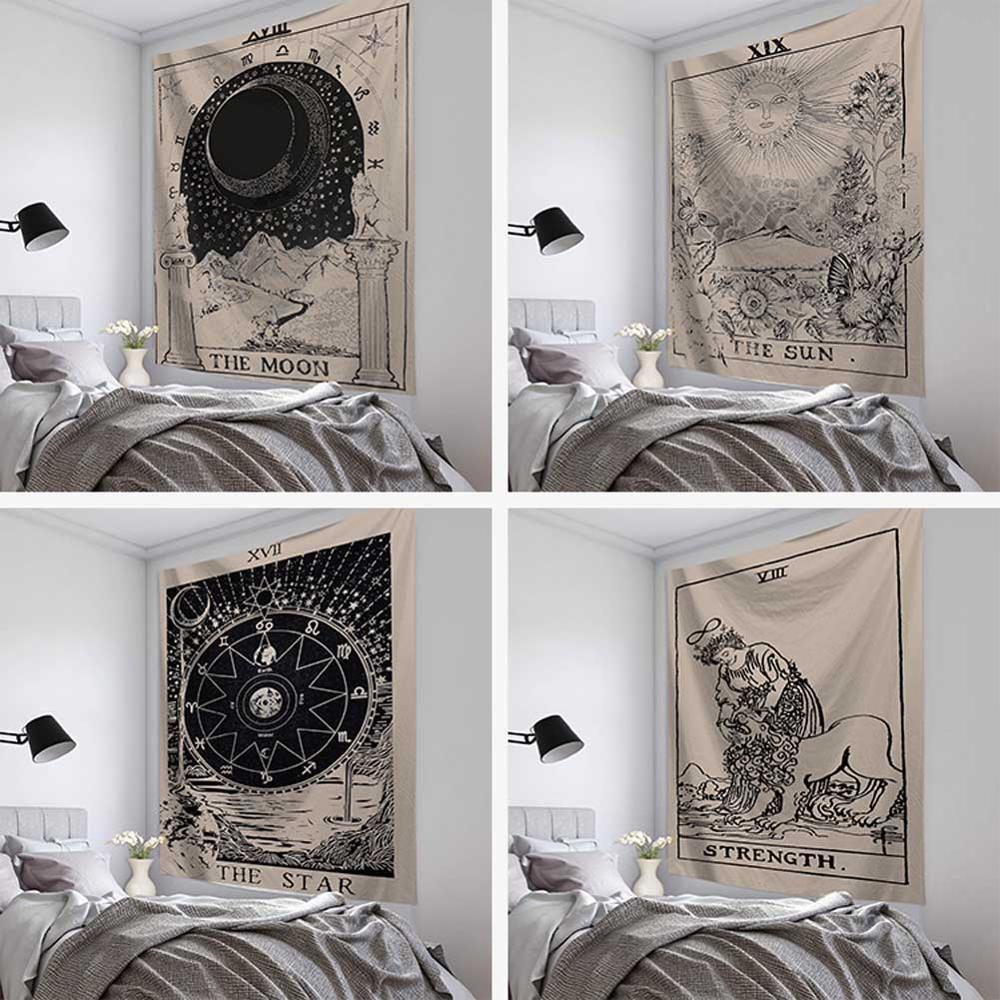 Tarot Tapestry Mandala Tapestry Wall Hanging Witchcraft Hippie Beach Throw Rug Carpet Sun Moon Tapestries Bohemian Home Art Psychedelic Decor
