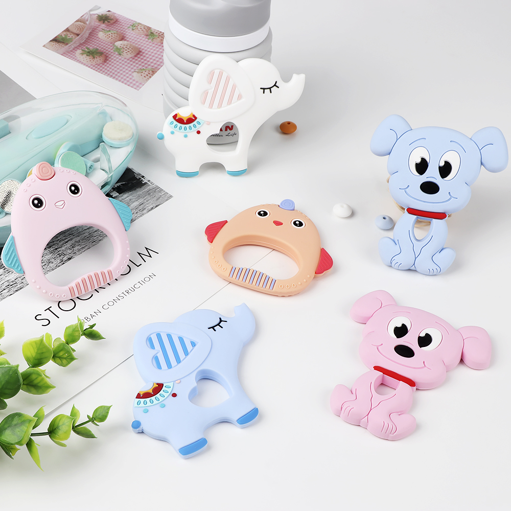 TYRY.HU 1pc Cartoon Baby Teether DIY Teething Necklace Pendant Food Grade Silicone Beads Chew Soft Animals Silicone Teether