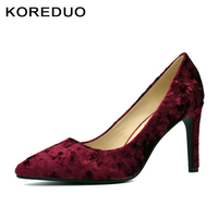 KOREDUO Flannel Fabric Women Pumps Fashion Pointed Toe High Heels Basic Style Dress Pump Blue And