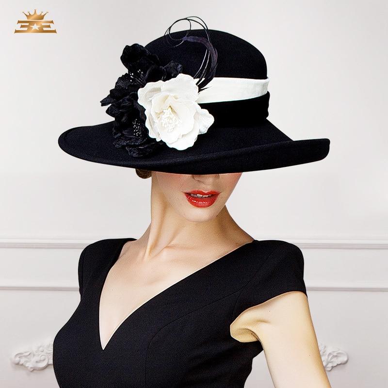 ef294a4b5 US $114.62 |2015 New Winter big flowers elegant wool fedora hat for women  large brim balck purple party church fashion designer ladies hat-in Women's  ...