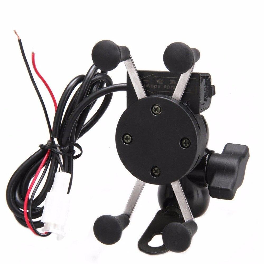 imágenes para 2017 Moto de La Motocicleta Soporte para Teléfono Soporte de Carga USB 2 en 1 360 Grados de Rotación USB Cargador GPS Mount Teléfono