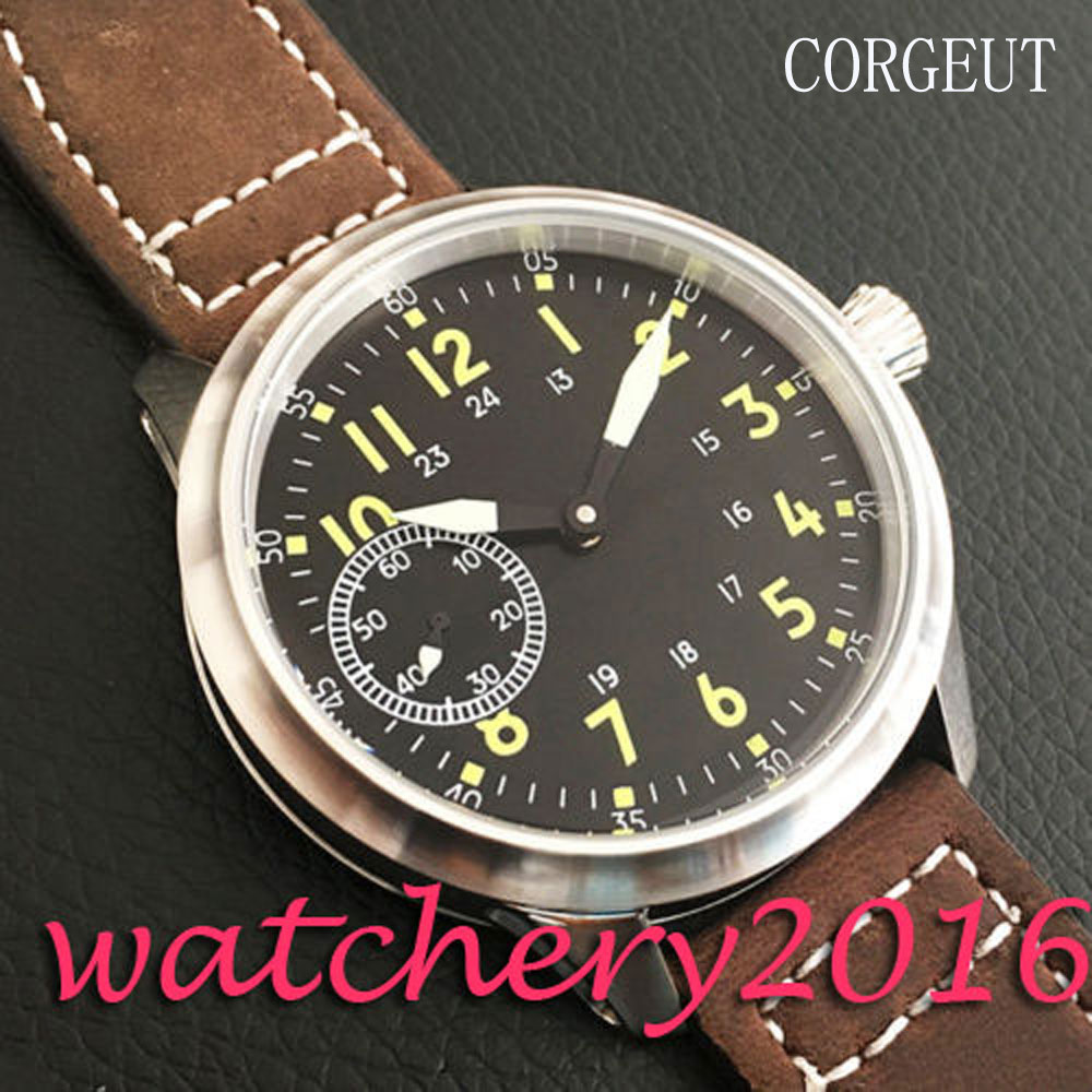 цена на Luxury Corgeut 45mm Black Dial Luminous markers 6497 Hand Winding movement men's Watch