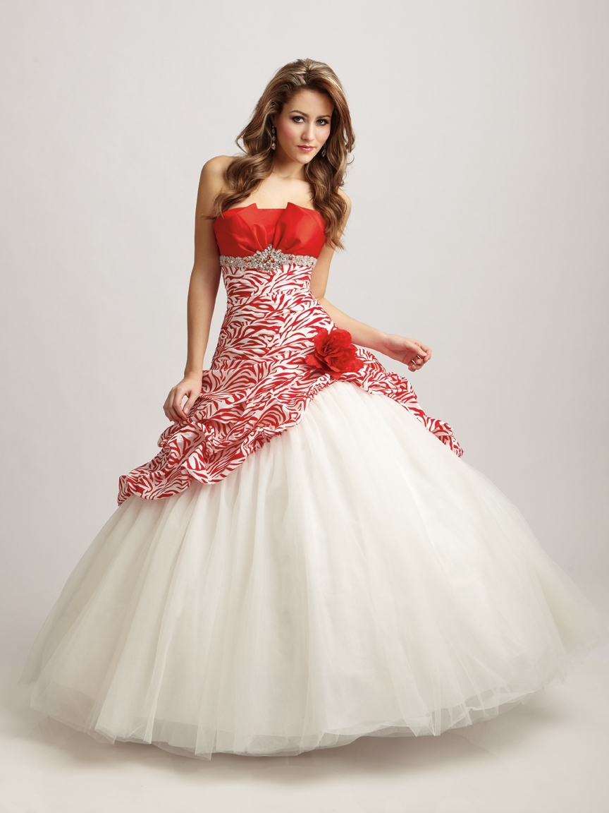 Red White Quinceanera Dresses 2014 Asymmetrical Quinceanera Dress ...