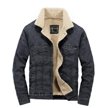 Winter Casual Denim Jacket Men Thick Warm Fleece Collar Denim Black Blue Coat Male Jean jacket Coat Size S-XXL