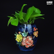 Now Chinese Shiwan doll straight glazed dining room ornaments peony hand pull embryo ceramic vase
