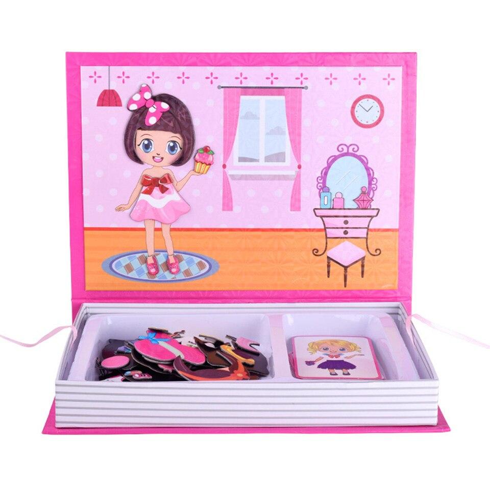 Woodentoys Puzzle jouet force magnétique Figure stéréoscopi jeux éducatifs astucieux vêtements à langer fille jouets